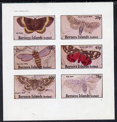Bernera 1982 Butterflies (Oak Egger,Tiger Moth, Puss Moth etc) imperf  set of 4 values (15p to 75p) unmounted mint