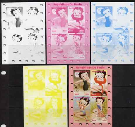 Benin 2009 Betty Boop & Olympics sheetlet containing 4 values, the set of 5 imperf progressive proofs comprising the 4 individual colours plus all 4-colour composite, unm...