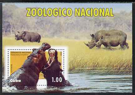 Cuba 2009 National Zoo (Hippos & Rhinos) imperf m/sheet unmounted mint