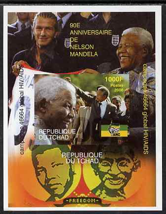 Chad 2008 Nelson Mandela 90th Birthday imperf m/sheet #1 also shows Beckham & Gandhi, unmounted mint. Note this item is privately produced and is offered purely on its th...