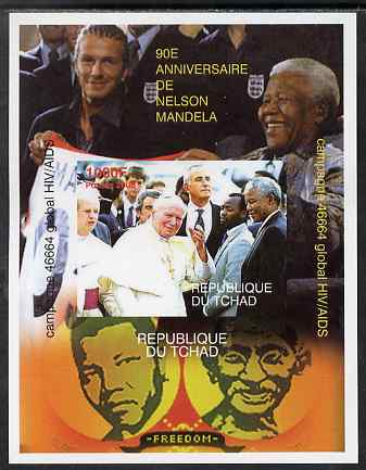 Chad 2008 Nelson Mandela 90th Birthday imperf m/sheet #2 with the Pope, also shows Beckham & Gandhi, unmounted mint. Note this item is privately produced and is offered p...