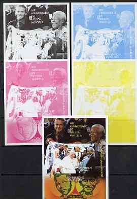 Chad 2008 Nelson Mandela 90th Birthday m/sheet #2 with the Pope, also shows Beckham & Gandhi - the set of 5 imperf progressive proofs comprising the 4 individual colours ...