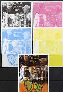 Chad 2008 Nelson Mandela 90th Birthday m/sheet #3 also shows Beckham & Gandhi - the set of 5 imperf progressive proofs comprising the 4 individual colours plus all 4-colo...