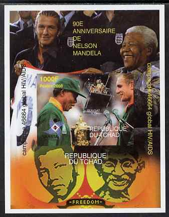 Chad 2008 Nelson Mandela 90th Birthday imperf m/sheet #4 also shows Beckham & Gandhi, unmounted mint , stamps on personalities, stamps on mandela, stamps on aids, stamps on nobel, stamps on personalities, stamps on mandela, stamps on nobel, stamps on peace, stamps on racism, stamps on human rights, stamps on gandhi, stamps on football