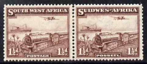 South West Africa 1937 Mail Train 1.5d horiz bi-lingual pair mounted mint SG96