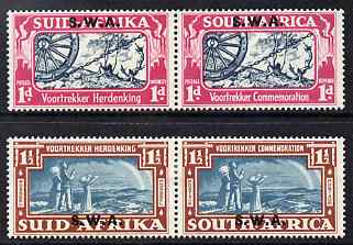 South West Africa 1938 KG6 Voortrekker Commemoration set of 4 (2 horiz bi-lingual pairs) mounted mint SG 109-10
