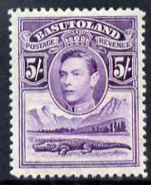Basutoland 1938 KG6 5s violet very lightly mounted mint SG 27