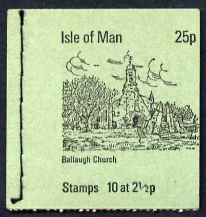 Booklet - Isle of Man 1973 Ballaugh Church 25p booklet (green cover) complete and fine, SG SB2