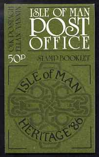 Booklet - Isle of Man 1986 Manx Heritage Year 50p booklet (olive-green cover) complete and fine, SG SB14
