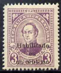 Paraguay 1944 Surcharged 1c on 3p violet unmounted mint SG 584