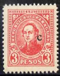 Paraguay 1927-42 Ignacio Yturbe 3p carmine with small