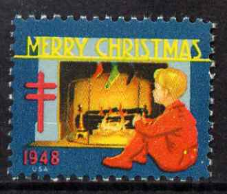 Cinderella - United States 1948 Christmas TB Seal (greenish-blue background) unmounted mint*