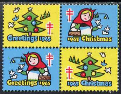 Cinderella - United States 1965 Christmas TB Seal se-tenant block of 4 unmounted mint