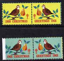 Cinderella - United States 1968 Christmas TB Seal two se-tenant pairs unmounted mint