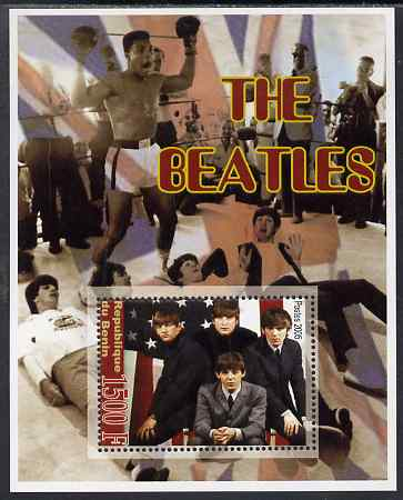 Benin 2005 The Beatles perf souvenir sheet unmounted mint. Note this item is privately produced and is offered purely on its thematic appeal (Mohamed Ali in background)