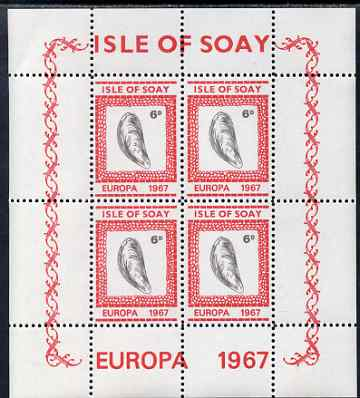Isle of Soay 1967 Europa (Shells) 6d Mussel perf sheetlet of 4 unmounted mint - normal sheets come rouletted but a small quantity were perforated