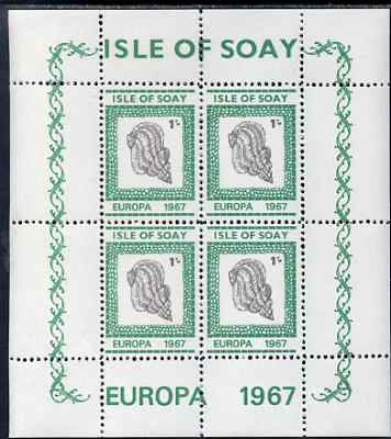 Isle of Soay 1967 Europa (Shells) 1s Cockle perf sheetlet of 4 unmounted mint - normal sheets come rouletted but a small quantity were perforated