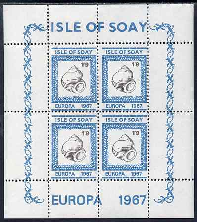 Isle of Soay 1967 Europa (Shells) 1s9d Whelk perf sheetlet of 4 unmounted mint - normal sheets come rouletted but a small quantity were perforated