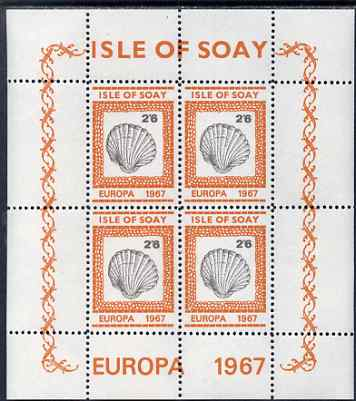 Isle of Soay 1967 Europa (Shells) 2s6d Oyster perf sheetlet of 4 unmounted mint - normal sheets come rouletted but a small quantity were perforated
