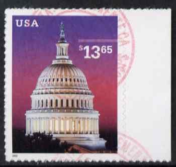 United States 2002 Capitol, Washington $13.65 self adhesive fine cds used still on backing paper, SG 4164