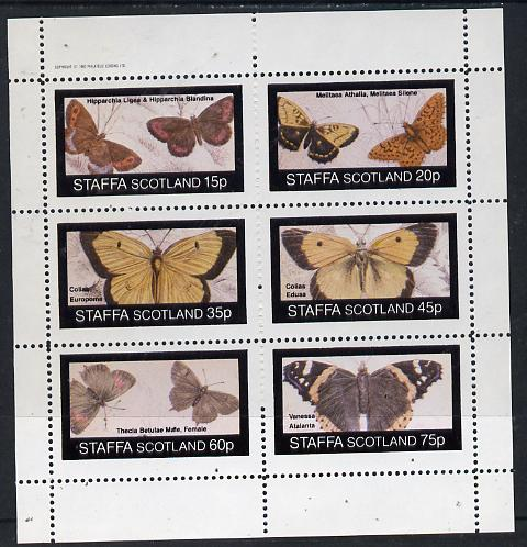 Staffa 1982 Butterflies (Hipparchia) perf set of 6 values (15p to 75p) unmounted mint