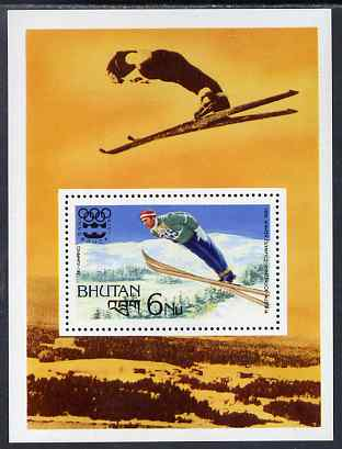 Bhutan 1976 Innsbruck Winter Olympics perf m/sheet (Ski Jumping) unmounted mint SG MS345