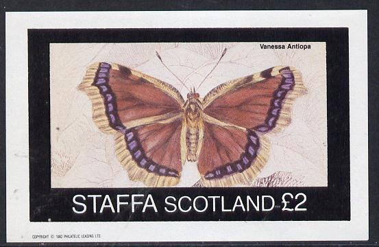 Staffa 1982 Butterflies (Vanessa Antiopa) imperf deluxe sheet (�2 value) unmounted mint