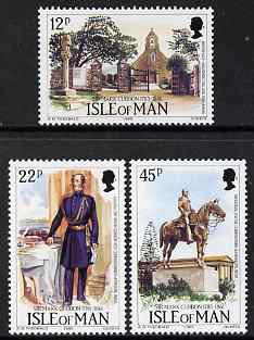 Isle of Man 1985 Birth Bicent of Lt Gen Sir Mark Cubbon (Indian administrator) set of 3 unmounted mint, SG 300-302