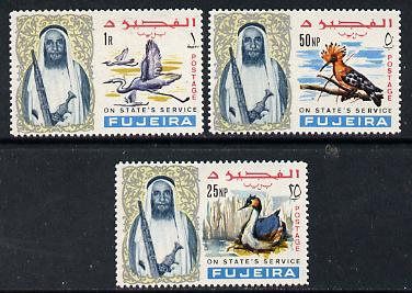 Fujeira 1967 Birds the 3 values opt'd On States Service, unmounted mint
