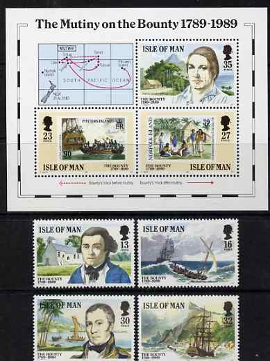 Isle of Man 1989 Mutiny on the Bounty set of 7 unmounted mint, SG 408-14, stamps on ships, stamps on stamp on stamp, stamps on personalities