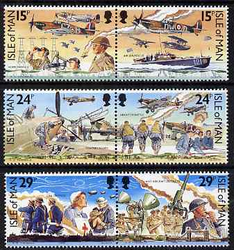 Isle of Man 1990 Battle of Britain 50th Anniversary set of 6 (3 se-tenant pairs) unmounted mint, SG 449-54
