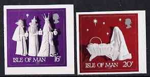 Isle of Man 1991 Christmas - Paper Sculptures booklet stamps, self-adhesive set of 2 unmounted mint, SG 500-01