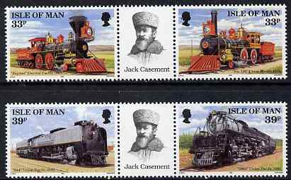 Isle of Man 1992 Union Pacific Railroad set of 4 (two se-tenant pairs with labels between) unmounted mint, SG 522a &524a