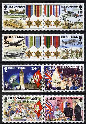 Isle of Man 1995 50th Anniversary of end of Second World War set of 8 (in 4 se-tenant pairs) unmounted mint, SG 641-48