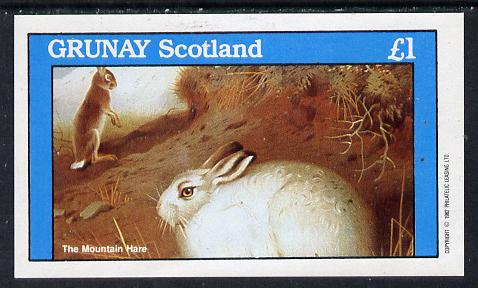 Grunay 1982 Animals (Mountain Hare) imperf souvenir sheet (�1 value) unmounted mint