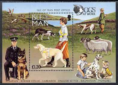 Isle of Man 1996 Dogs at Work m/sheet unmounted mint, SG MS725