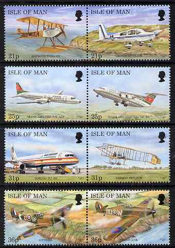 Isle of Man 1997 Manx Aircraft set of 8 (4 x se-tenant pairs), unmounted mint, SG 747-54
