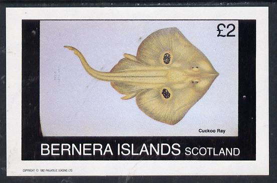 Bernera 1982 Fish (Cuckoo Ray) imperf deluxe sheet (�2 value) unmounted mint