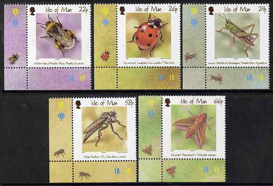 Isle of Man 2001 Insects set of 5 unmounted mint, SG 924-28, stamps on insects, stamps on bees, stamps on moths