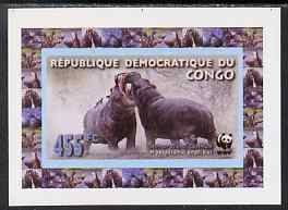 Congo 2009 WWF Hippopotomus #3 individual imperf deluxe sheet unmounted mint. Note this item is privately produced and is offered purely on its thematic appeal