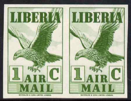 Liberia 1938 Eagle 1c green imperf pair unmounted mint, as SG 565a