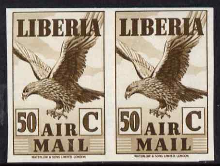 Liberia 1938 Eagle 50c brown imperf pair unmounted mint, as SG 573a