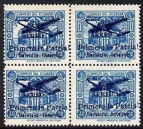 Ecuador 1930s Servicio Interno opt on 30c blue unissued Official stamp block of 4 each with ! instead of full stop after Patria, also with fine set-off on reverse