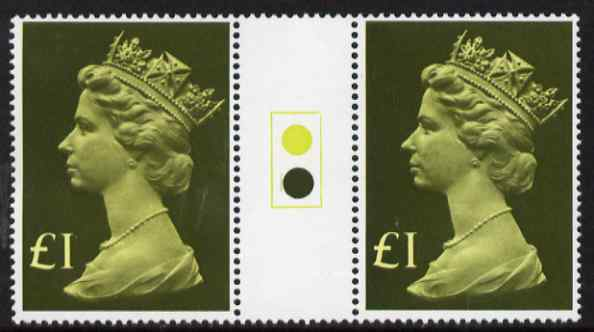 Great Britain 1977-87 Machin - Large Format \A31 traffic light gutter pair unmounted mint SG 1026