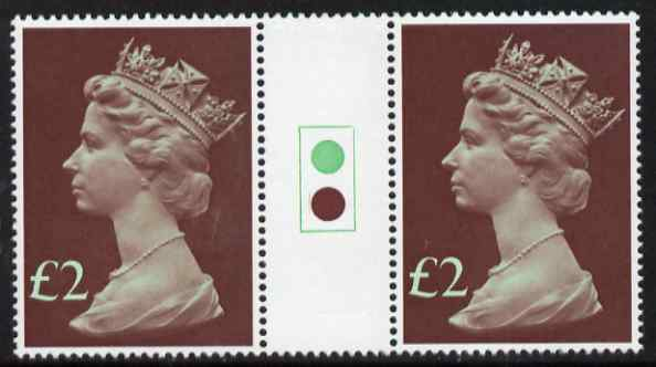 Great Britain 1977-87 Machin - Large Format \A32 traffic light gutter pair unmounted mint SG 1027