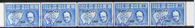 Calf of Man 1968 Europa 1968 opt'd on Churchill perf 14.5 set of 5 in light blue (as Rosen CA111-15) fine cds used