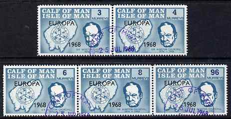 Calf of Man 1968 Europa 1968 opt'd on Churchill perf 14.5 set of 5 in turquoise (as Rosen CA105-09) fine cds used