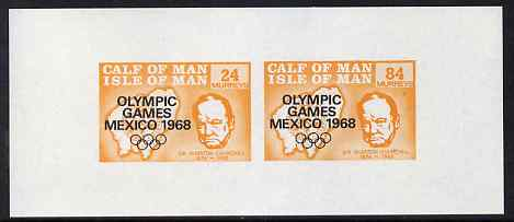 Calf of Man 1968 Olympic Games Mexico overprinted on Churchill imperf m/sheet (24m & 84m orange) unmounted mint (Rosen CA134MS)