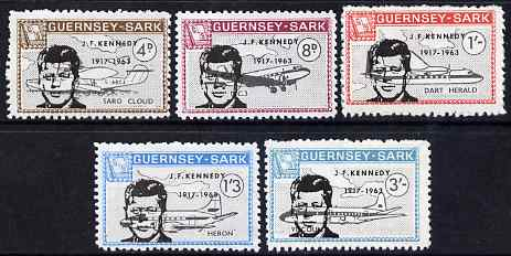 Guernsey - Sark 1966 John F Kennedy overprint on Aircraft perf set of 5 unmounted mint, Rosen CS 91-5, stamps on personalities, stamps on kennedy, stamps on usa presidents, stamps on americana, stamps on aviation