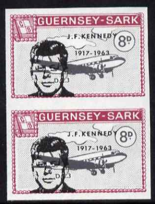 Guernsey - Sark 1966 John F Kennedy overprint on 8d Douglas DC-3 imperf pair unmounted mint, as Rosen CS 92